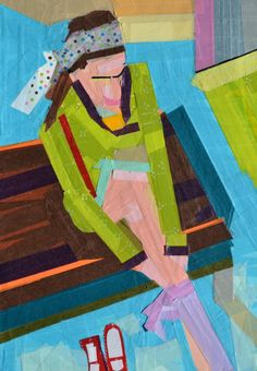 """Girl Putting on Tights"" Washi Tape 9"" x 12"" Inspired from Japan art comes, ""Girl Putting on Tights"". This brightly colored picture is made entirely from washi tape. What unique characteristics it has."