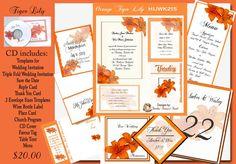 I wonder how it would look finished Orange Tiger Lily Wedding CD Invitation Kit. $20.00, via Etsy.