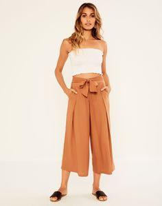 Linen Blend Tie Wide Leg Pant Toffee Tan