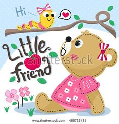 Cartoon cute teddy bear girl sitting with worm on a tree in flower field illustration vector.