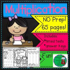 Multiplication Practice includes 65 pages ( practice and timed tests with answer keys)! Great value! Just print and use!Also, I've included a cover sheet for students if you want to make a math packet for them. I've included practice on facts 0's -12's and timed tests!