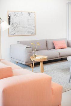 canapé en gris pâle tapis gris, canapé rose saumon pour bien meubler le salon