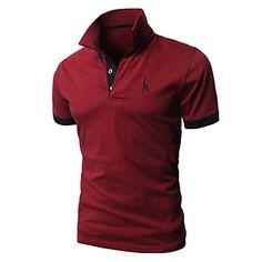 Buy Men's Fashion T-shirt Personality Tees Cultivating Short-sleeved Shirt POLO Shirts at Wish - Shopping Made Fun Polo T Shirts, Short Sleeve Polo Shirts, Cotton Shirts, New Mens Fashion, Look Fashion, Fashion Brand, Formal Casual, Men Casual, Slim Fit Polo