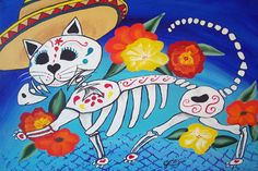 Mexican Folk Art Day of the Dead Cat Kitty DOD Collectible ACEO ATC Art Deco Print Poster Art Ellison