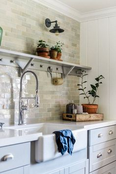 We adore this beautiful laundry room design with gray cabinets and white shiplap and zellige tile Decor, Home, Room Renovation, Kitchen Remodel, Kitchen Decor, Laundry Room Decor, Trendy Kitchen, Room Remodeling, Room Storage Diy