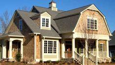 """""""Rockwell"""" house plan by Mitch Ginn - gambrel roof - porch - cedar shakes - cupola   www.mitchginn.com"""