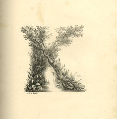 Letter K. Landscape alphabet. Found in the British Museum archives. Early 19c.