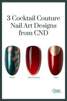 These easy nail fashion ideas feature the lavish and elegant CND Cocktail Couture Collection. Your salon or spa clients can celebrate in style with deep reds, rich gold, and a sophisticated emerald. Gem Nails, Shellac Nails, Nail Polish, Painted Acrylic Nails, Couture Nails, Glittery Nails, Nail Fashion, Cnd, Cool Nail Art