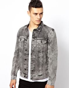 $120, Denim Jacket by Religion. Sold by Asos. Click for more info: http://lookastic.com/men/shop_items/83826/redirect