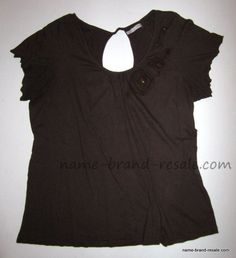 MAURICES Shirt Womens PLUS 3 3X Brown Rosettes Open Keyhole Back  #Maurices #KnitTop #Casual