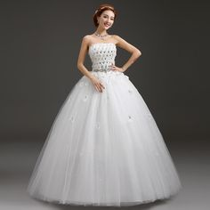 Find More Wedding Dresses Information about 2015 new hot sale  luxury sexy backless elegant  beach sweetheart a line  lace plus size white wedding dress strapless,High Quality lace thread,China lace cap sleeve wedding dress Suppliers, Cheap lace dresses on sale from Playful beauty department store on Aliexpress.com