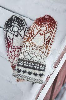 HIPPUSIA: Enkelilapaset Mittens Pattern, Knit Mittens, Knitting Socks, Wrist Warmers, Hand Warmers, Crochet Gloves, Knit Crochet, Double Knitting Patterns, Fair Isle Knitting