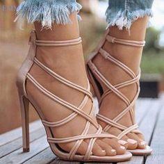 High Heel Shoes Sandals Women's Ankle Strap Pump Party Dress Open Toe Absatzschuhe Sandalen Damen Knöchelriemen Pump Party Kleid Open Toe mode Black High Heels, High Heels Stilettos, High Heel Boots, Stiletto Heels, Shoes Heels, Heeled Sandals, Sandals Outfit, High Shoes, Gladiator Sandals