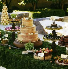 Wedding Dessert and Candy Displays, Add tasty flair to an elegant or rustic wedding reception with a dessert table that tantalizes guests while reflecting your unique personality., Wedding Dessert and Candy Displays Outdoor Dessert Table, Buffet Dessert, Dessert Bars, Dessert Tables, Buffet Tables, Buffet Ideas, Decoration Buffet, Deco Buffet, Woodland Wedding