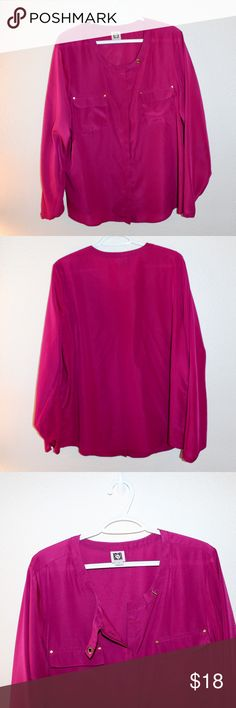 Anne Klein Dark Fuchsia blouse Anne Klein Dark Fuchsia Blouse with gold details and cross strap at neck. Anne Klein Tops