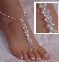 Items similar to Beach Wedding Barefoot Sandals, Elegant Swarovski Pearl Sandals, Fresh Water Pearl Sandal, Dainty Foot Jewelry, Footless Sandals on Etsy Beaded Foot Jewelry, Anklet Jewelry, Body Jewelry, Feet Jewelry, Chain Jewelry, Silver Jewelry, Silver Ring, Jewelry 2014, Jewelry Ideas