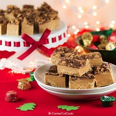 Peanut Butter Fudge topped with Reese's Peanut Butter Cups! An easy no-bake recipe for creamy fudge plus tips on how to host a holiday cookie swap!