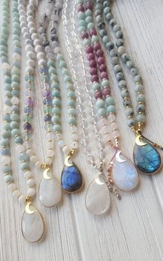 Your place to buy and sell all things handmade SERENITY Moon Goddess Mala Beads 108 Moonstone Mala Necklace 14k Gold Initial Necklace, Leaf Necklace, Moon Necklace, Diy Necklace, Moonstone Necklace, Moonstone Pendant, Pendant Set, Necklace Ideas, Pearl Pendant