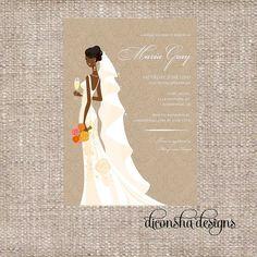Elegant African American Bridal Shower Invitation by DiconshaDesigns on Etsy, $11.00
