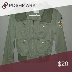 Army Style Jacket Olive green bomber jacket. patch on left arm. slight pilling on bottom and collar. Jackets & Coats
