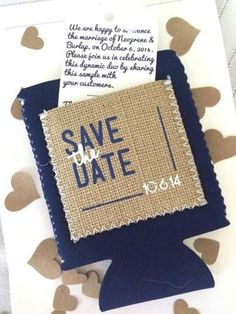 These cute save the dates are actual drink koozies made from burlap! Great idea for a rustic wedding. | http://emmalinebride.com/rustic/ways-use-burlap-weddings/