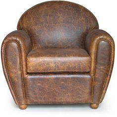"Cigar-style Vintage Leather Club Chair $563.99 35"" wide x 32"" deep x 34"" high (can add bigger legs)"