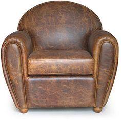 "Cigar-style Vintage Leather Club Chair $563.99 35"" wide x 32"" deep x 34"" high (can add bigger legs)"