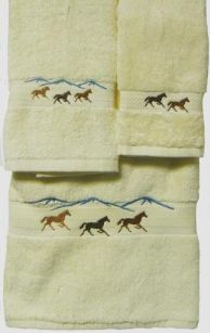 Wild Horses 3 pc Embroidered Towel Set in Ivory by KLI Home Design.