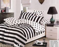 Fashion Polka Dots with Strip 4 Piece Duvet Cover Set Queen Size Cotton Bed Covers, Duvet Cover Sets, 100 Cotton Duvet Covers, Bed Sets, Queen Size, Cool Things To Make, Bedding Sets, Comforters, Polka Dots