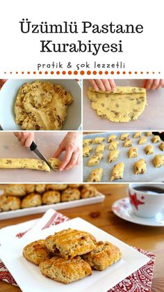 Making Raisin Patisserie Cookies (video and detailed explanation … – Healthy Food No Bake Desserts, Healthy Desserts, Dessert Recipes, How To Make Raisins, Sweet Sauce, How To Cook Shrimp, Turkish Recipes, Snacks, How To Make Cookies
