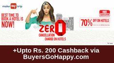 Flat 70% Off on #Hotels at #Makemytrip +Upto Rs. 200 Cashback via http://BuyersGoHappy.com  https://goo.gl/qipB5E