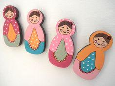 Babushka Magnets Set of 4 wooden magnets Matryoshka/ by Shellyka, $10.00