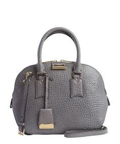 Burberry grey leather vintage small  Orchard  bowling bag Burberry Purse 7001cc377744c