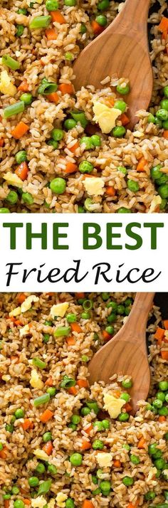 The BEST Fried Rice. This fried rice is loaded with veggies and only takes 20 minutes to make! The BEST Fried Rice. This fried rice is loaded with veggies and only takes 20 minutes to make! Rice Recipes, Asian Recipes, Vegetarian Recipes, Chicken Recipes, Dinner Recipes, Cooking Recipes, Healthy Recipes, Chinese Recipes, Risotto