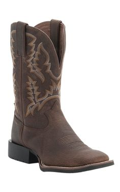 Tony Lama 3R Series Men's Brown Pitstop Top Double Welt Square Toe Boots