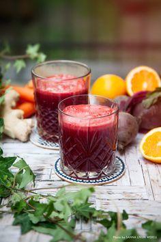 Uppiggande juice med apelsin, rödbetor och ingefära!