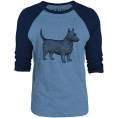 Mintage Scottish Terrier 3/4-Sleeve Raglan Baseball T-Shirt (Cobalt Marle / Navy)