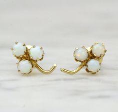 Victorian Rose Gold Opal Shamrock Earrings