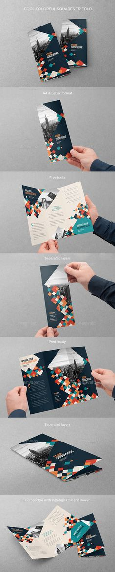 Cool Colorful Squares Trifold Brochure Template InDesign INDD. Download here: http://graphicriver.net/item/cool-colorful-squares-trifold/16900086?ref=ksioks