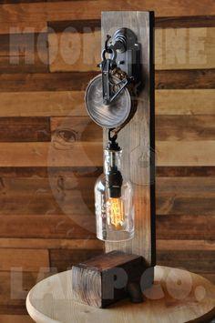 Steampunk Desk Lamp - The Chandler Pully Light, Liquor Bottle Lights, Furniture Market, Luxury Furniture, Industrial Lighting, Estilo Industrial, Steam Punk, Wooden Desk Lamp, Wood Work