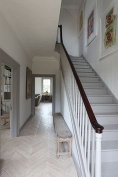 hallway flooring Parquet floor inspiration for a recently renovated house and tips and tricks on how to lay a herringbone floor yourself for Rock My Style DIY Week Stairs, Home, Painted Stairs, Hallway Flooring, New Homes, House, White Oak Floors, Hallway Inspiration, Flooring Inspiration
