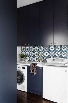 Blue laundry renovation