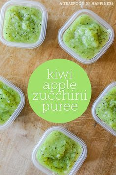 Kiwi Apple Zucchini Puree | Homemade Baby Food | ateaspoonofhappiness.com