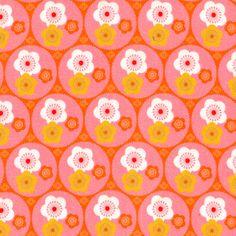 Tissu Fleurs Petits Oiseaux par Madame Mo | Cotons imprimés | Linge de maison | Pivoine et Tapioca