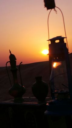 Beautiful sunset in the desert of Dubai