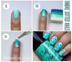 How to Ombre Dotted Nail via #geniabeme  #howto #nailart #polish - bellashoot.com
