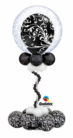 Featuring a popular #damask pattern, this #balloon design is perfect for an elegant #wedding centerpiece.