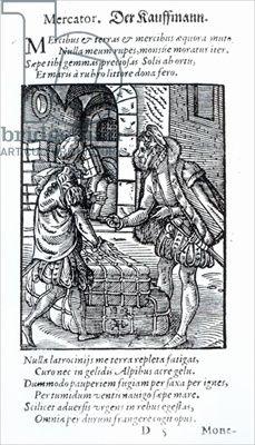 "The Merchant from ""Panoplia Omnium"", 1568, Hartman Schopper, Frankfurt"