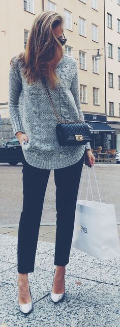 Shop this look on Lookastic:  http://lookastic.com/women/looks/grey-cable-sweater-black-crossbody-bag-black-dress-pants-grey-pumps/8773  — Grey Cable Sweater  — Black Quilted Leather Crossbody Bag  — Black Dress Pants  — Grey Snake Leather Pumps