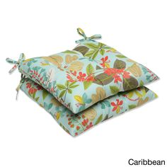 Relax in style and comfort on the Fancy A Floral set of weather and UV-resistant outdoor wrought iron seat cushions with ties that attach securely to furniture.